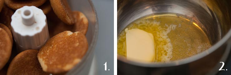 2 images: 1. Cookies in a food processor. 2. Butter melting in a pan.