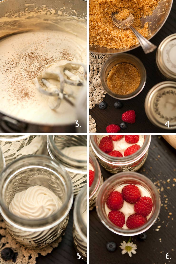4 images: 1. Cheesecake mouse mixed in a mixing bowl. 2. A mason jar being filled with cookie crumbles. 3. Jars filled with mousse layers. 4. jars with raspberries on top of mousse layers.