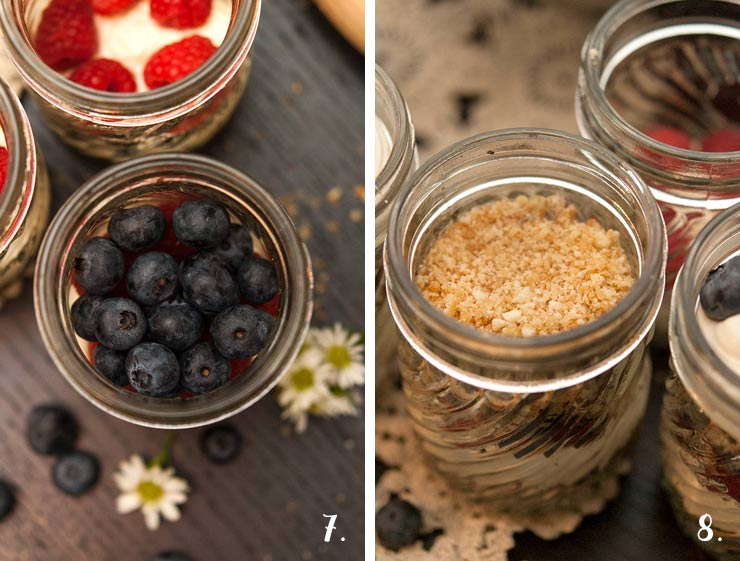 2 images. On the left, blueberries in a jar on top of mousse, on the right, jars with a cookie crumble layers.