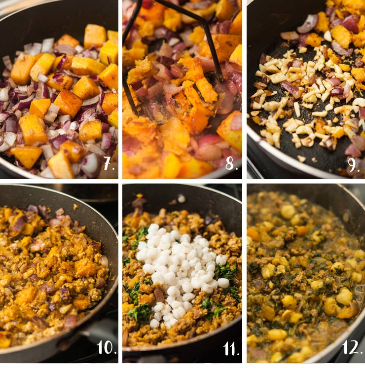 A collage of 6 numbered images showing adding vegetables, turkey and spices to a hot pan to make a stew.