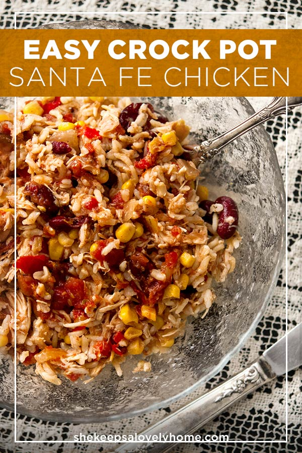 This Santa Fe chicken is packed with 7 different veggies, spiced with zesty, Tex-Mex flavors and serves at least 6 happy cowboys. It's also gluten-free! #glutenfree #mexican #recipe #easydinner #crockpot #crockpotrecipes