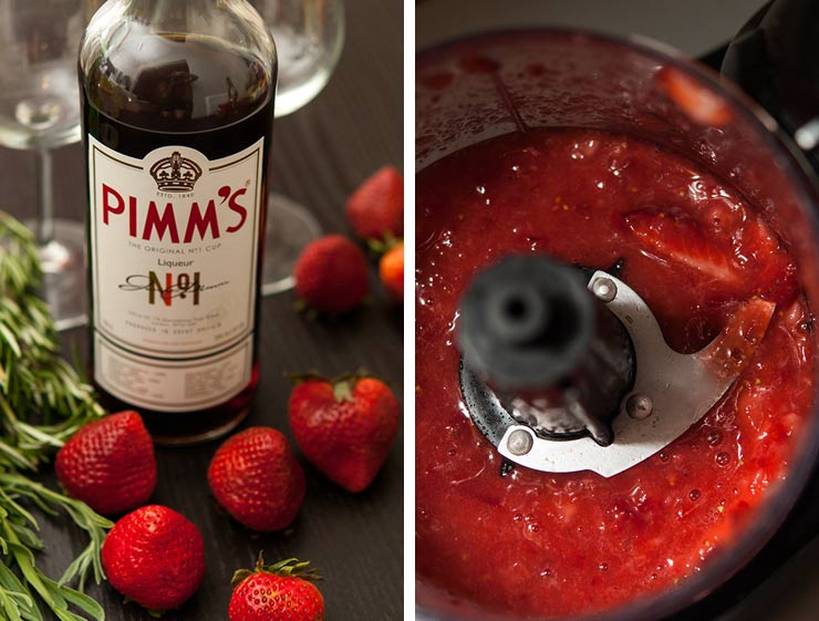 A bottle of Pimms surrounded by strawberries an herbs on a black table, and a closeup of ground strawberries in a food processor.