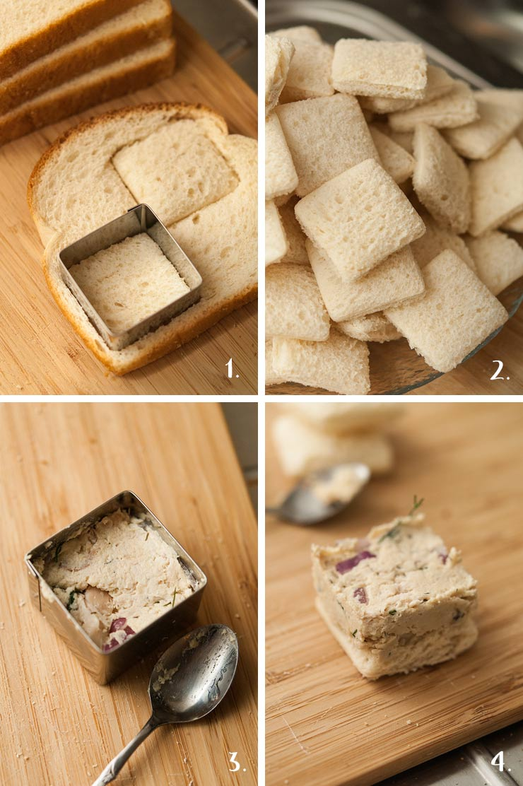 A collage of 4 numbered images showing how to make chicken salad finger sandwiches.