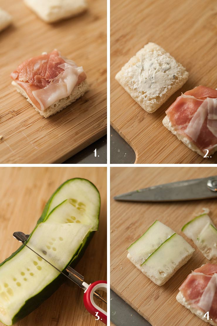 A collage of 4 numbered images showing how to make cucumber sandwiches.