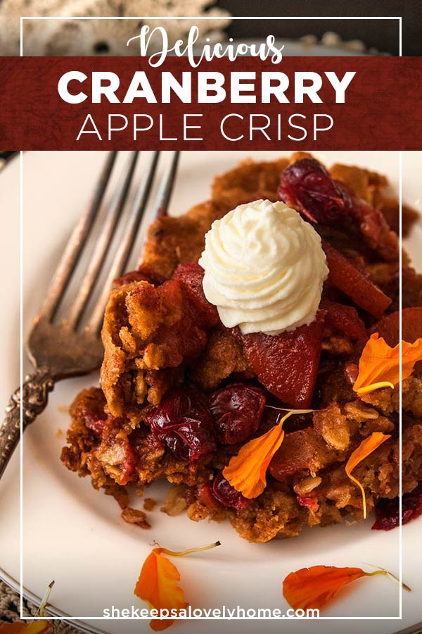 This fantastically tasty dessert is sweet, tart, crispy, chewy and crunchy! It's so incredibly easy to make and can be made vegan! #desserts, #falldesserts, #appledessert, #applerecipes, #fallrecipes, #thanksgiving, #apples, #shekeepsalovelyhome