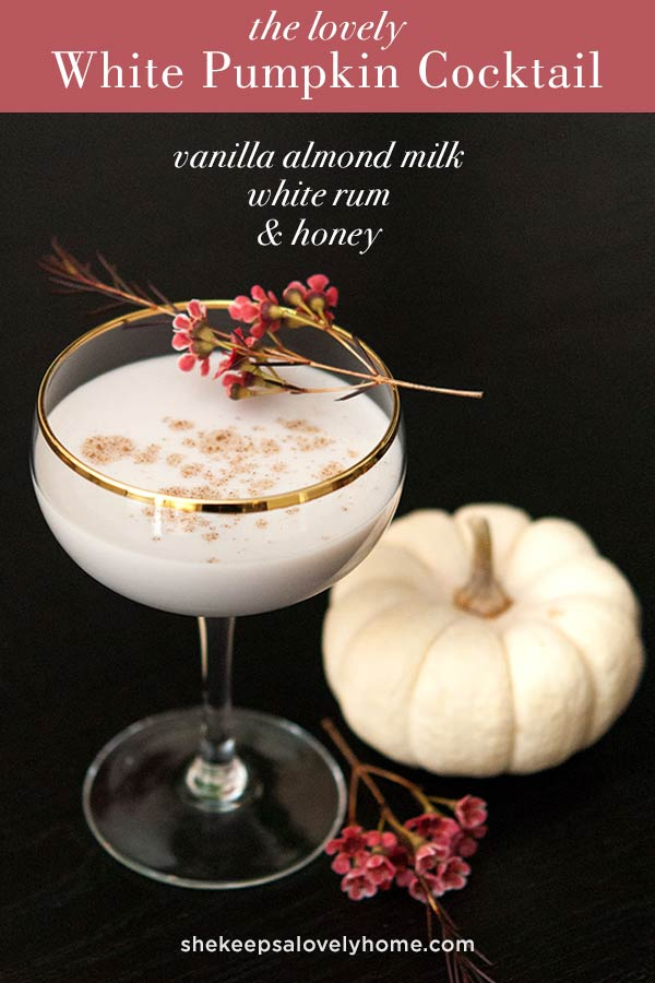 Try this elegant little vanilla, honey, pumpkin-spiced White Pumpkin Cocktail at your next cocktail party. #cocktail, #halloween, #cocktails #halloweenparty, #halloweencocktails, #fallrecipes