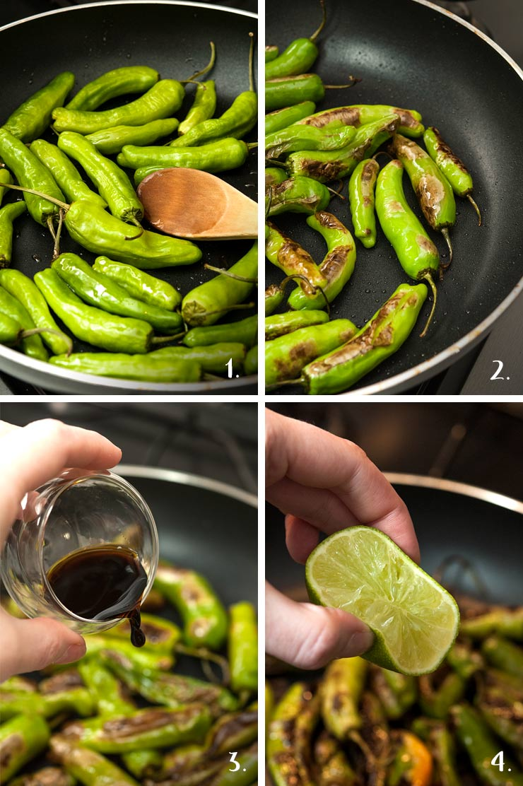 A collage of 4 numbered images showing the process of making blistered shishito peppers.