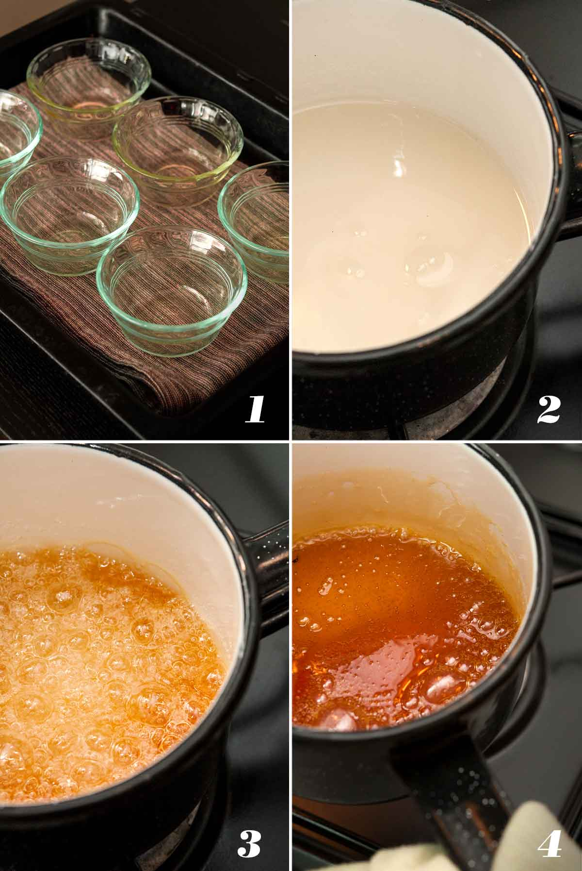A collage of 4 numbered images showing how to make caramel.