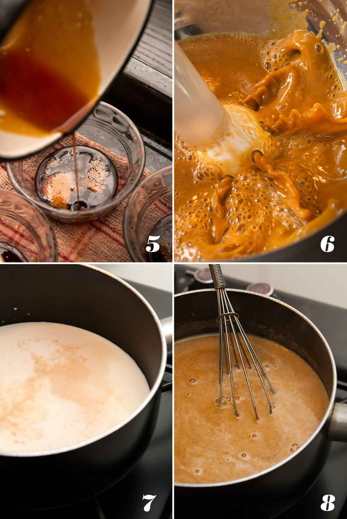 A collage of 4 numbered images showing how to make flan custard.