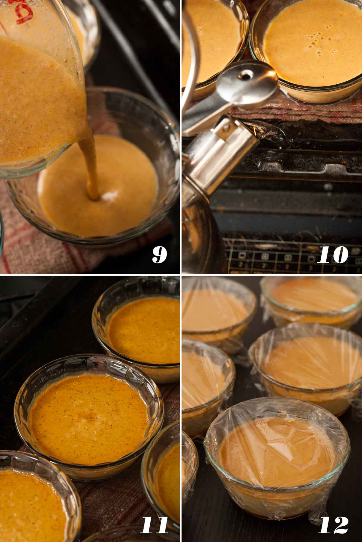 A collage of 4 numbered images showing how to pour and bake flan.