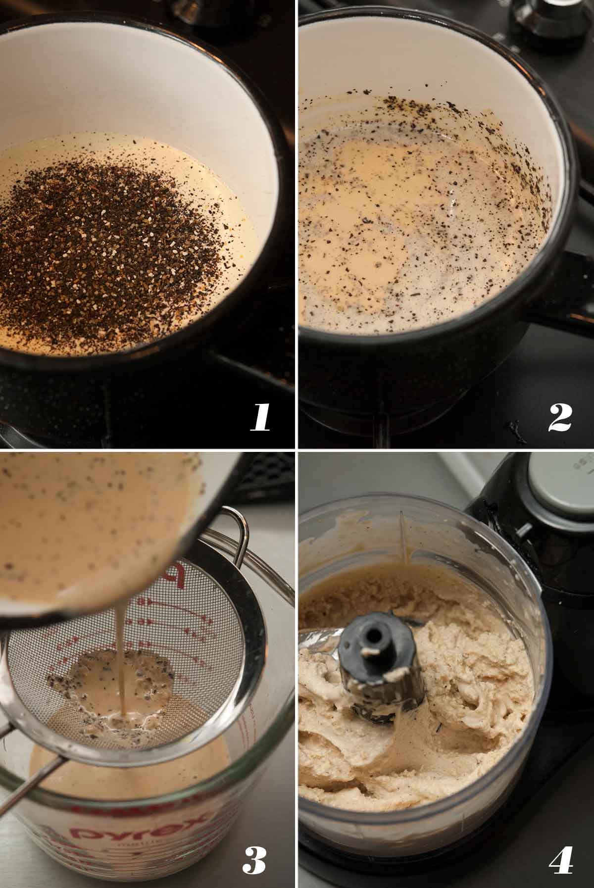 A collage of 4 numbered images showing how to make chai cream.