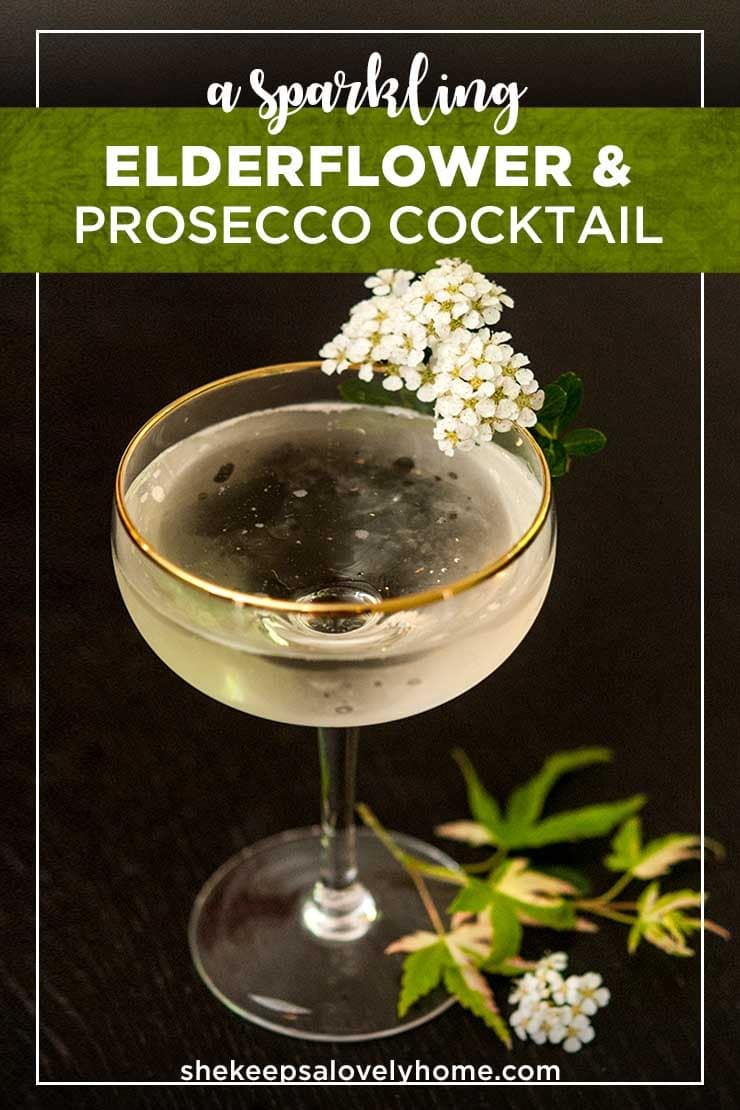 This sparkling elderflower cocktail with Prosecco and St. Germain is the most elegantly simple cocktail to serve at any cocktail party from a glitzy New Year's Eve ball to a lovely bridal shower. #cocktails, #newyears, #prosecco, #bridalshower