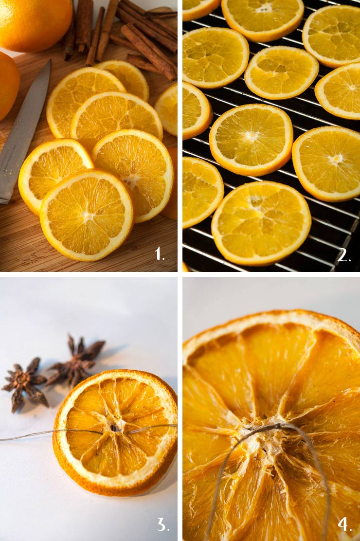 A step by step process showing how to dry orange slices for christmas ornaments.