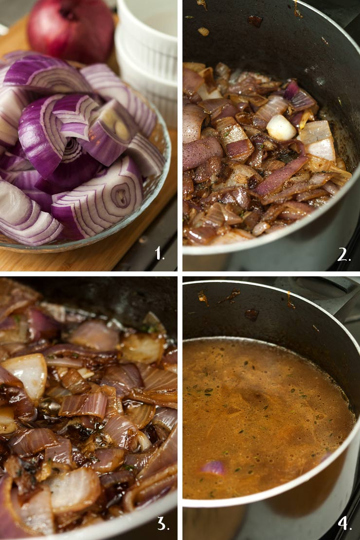 A step by step process of making French onion soup.