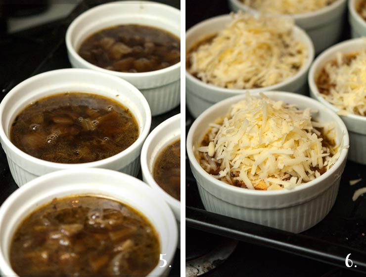 A step by step process of adding cheese to French onion soup before placing in the oven.