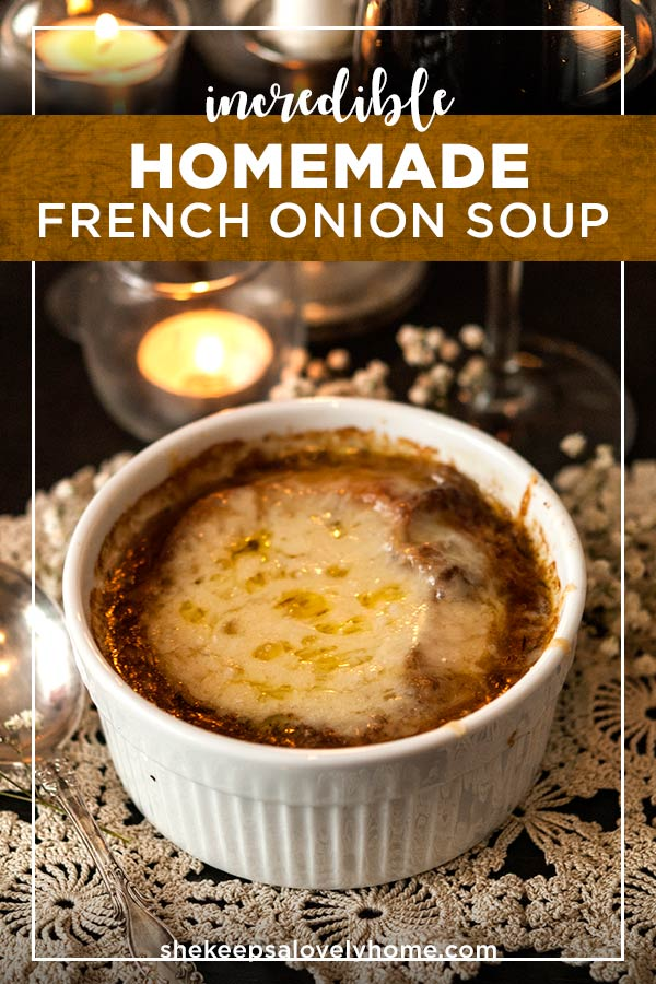 This homemade french onion soup recipe is quite rich, not too sweet, not too savory and sure to warm your chilly winter bones. In this recipe, you'll learn how to make this soup completely from scratch so you'll have control over every heavenly flavor! #soup #recipes