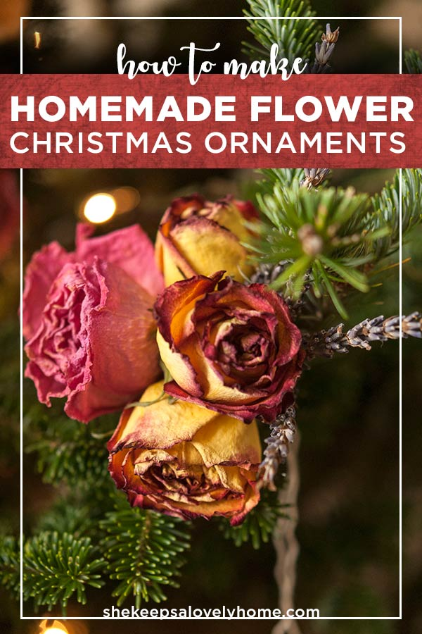 These homemade flower ornaments are the perfect DIY decoration for an elegant, colorfully natural Christmas tree! In just four steps, I'll show you how to dry, design and hang these gorgeous, blooming decorations that are sure to impress everyone at your Christmas party! #christmas, #diy