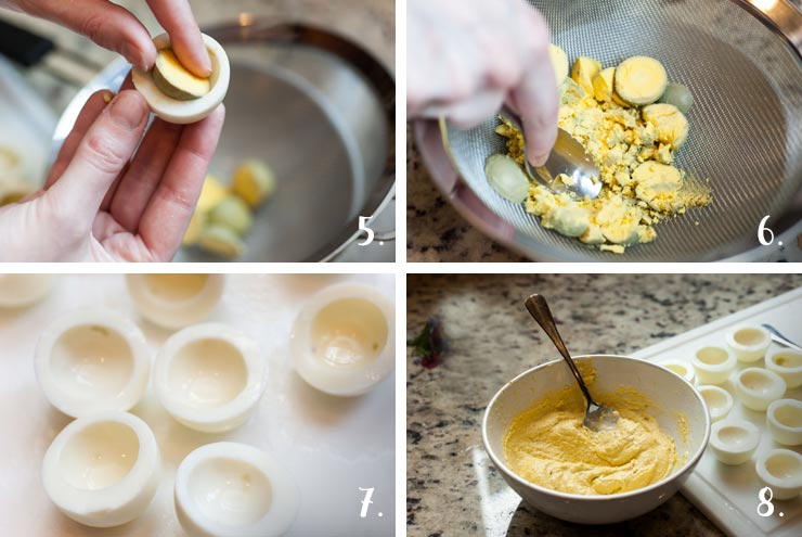 A step by step process showing how to remove egg yokes from deviled eggs and mix them.