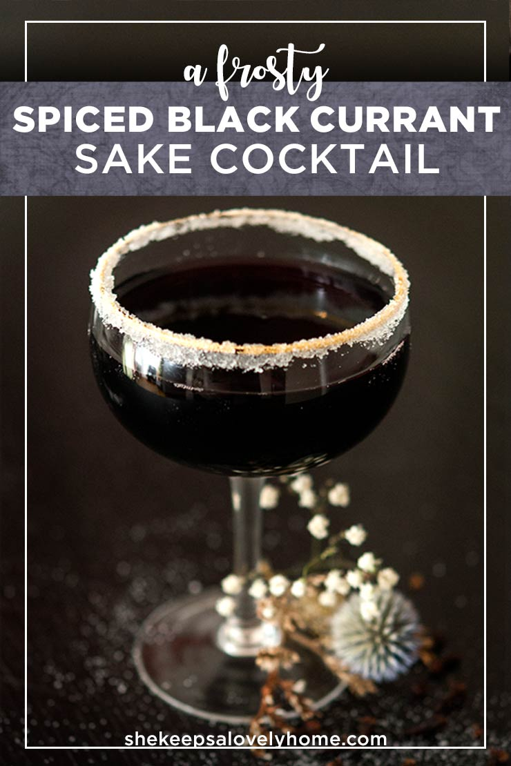 This sake, St. Germain and spiced black currant juice cocktail makes a perfect winter punch for your non-traditional Christmas parties and elegantly different winter affairs. Let's stray from the red and green into the black, frosty winter night.#cocktails #christmas
