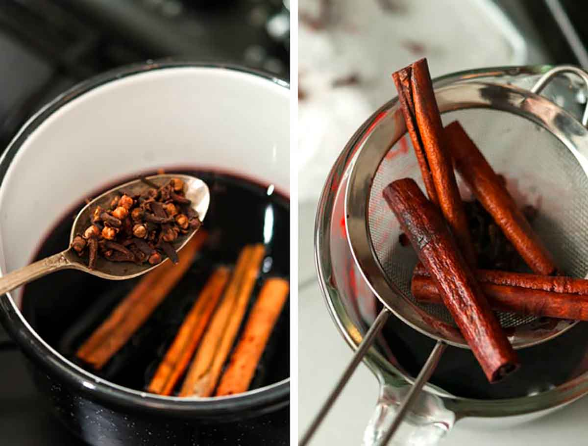 2 images showing how to steep currant juice with cloves and cinnamon.