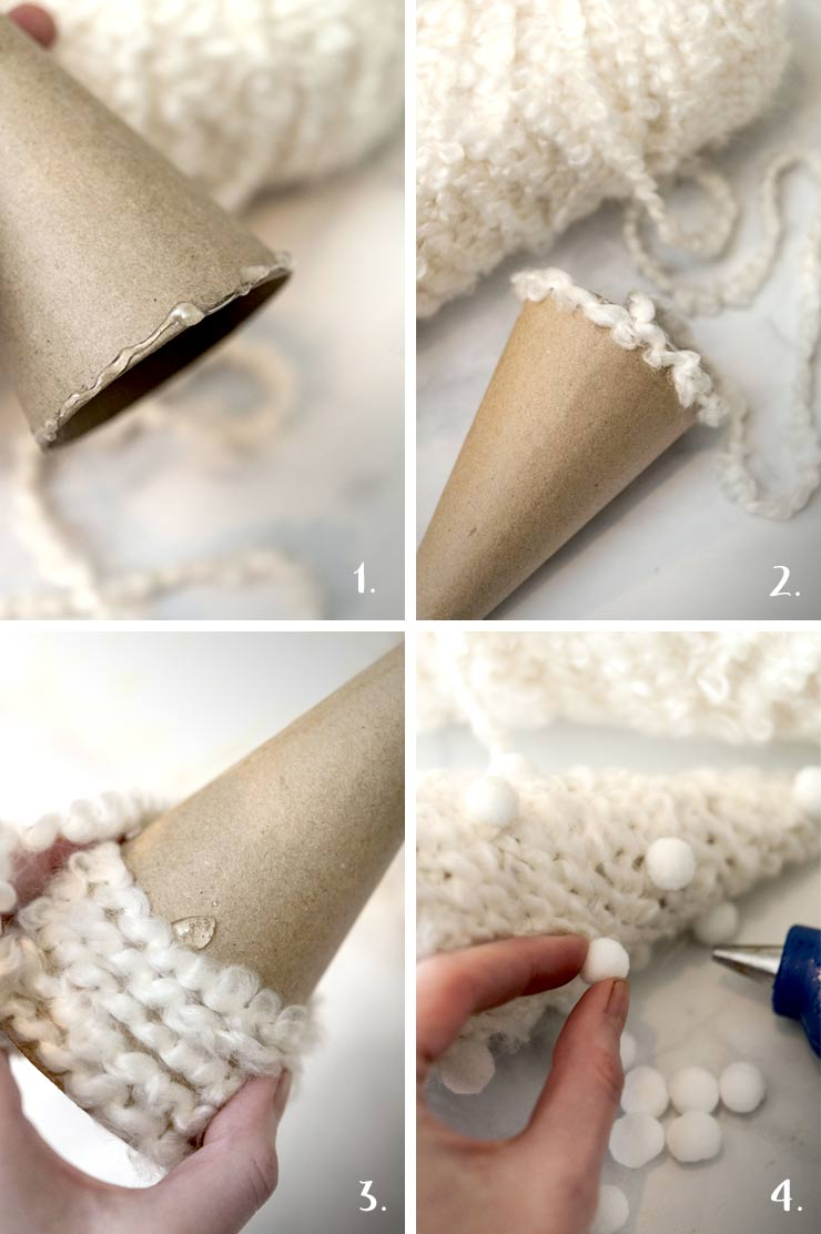 A step by step process showing how to make DIY yarn christmas trees.