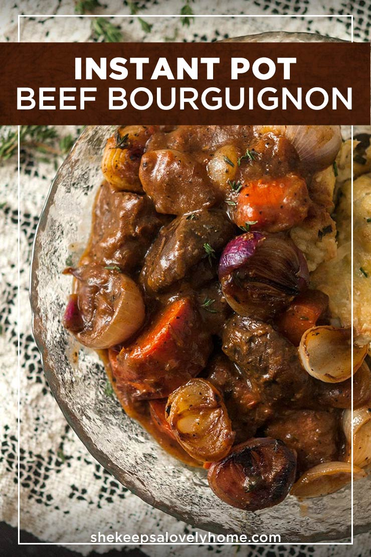 This exquisite Instant Pot Beef Bourguignon recipe is the most perfect meal for a cozy, casual night or a fancy dinner party. #instantpot, #instantpotrecipes, #beef