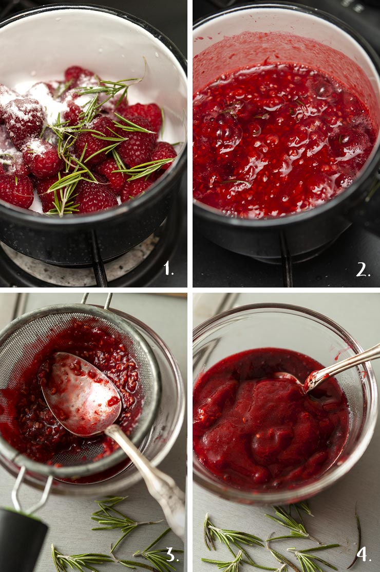A collage of 4 numbered images showing how to make raspberry-rosemary compote.