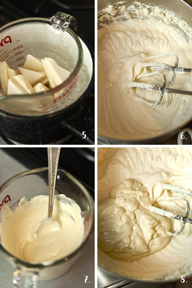 A collage of 4 numbered images showing how to melt white chocolate and add it to mousse ingredients.