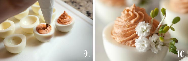 A step-by-step process showing the filling of deviled eggs.