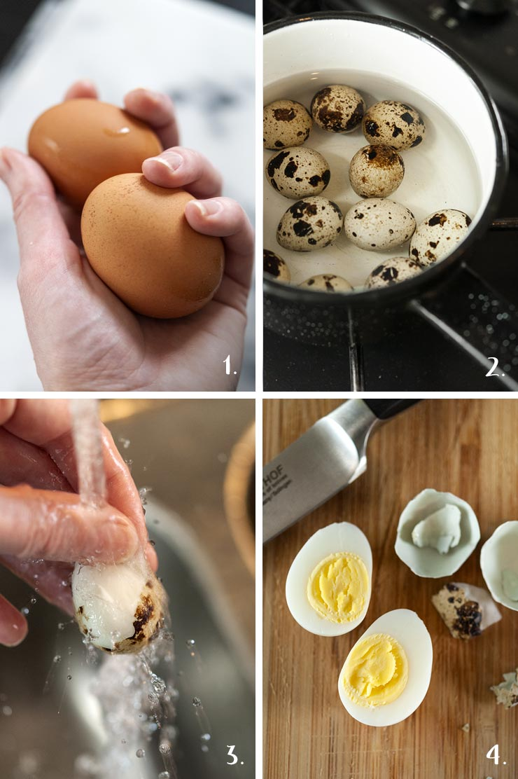 A collage of 4 numbered images showing how to boil eggs and cut them.