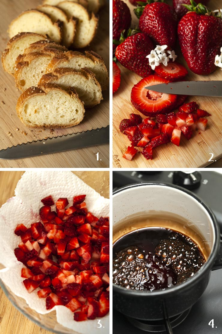 A step by step process of how to make crostini with balsamic strawberries and ricotta.