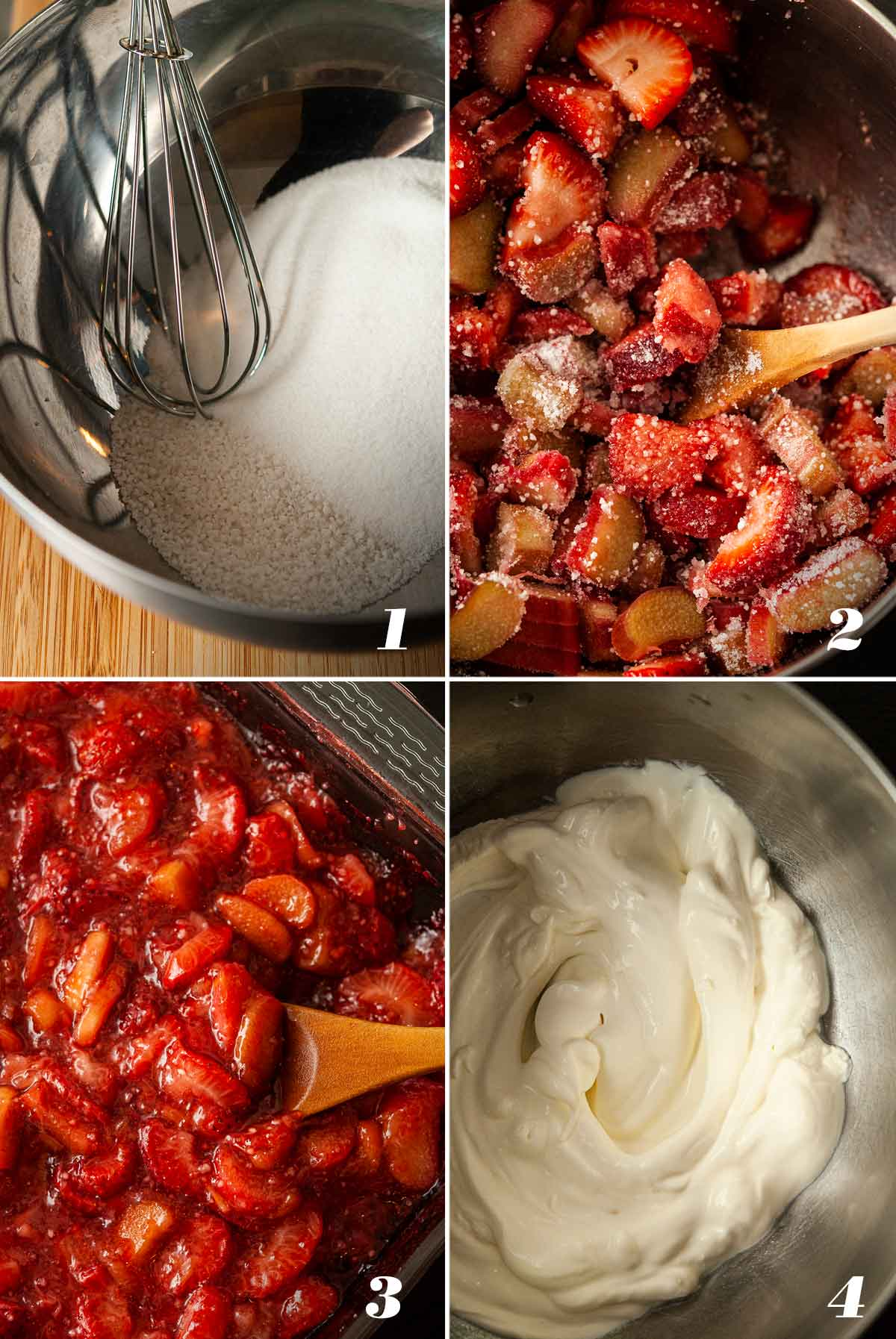 A collage of 4 numbered images showing how to make strawberry-rhubarb and whipped cream.