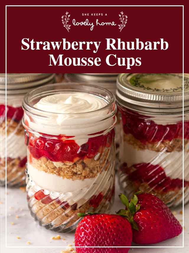 """3 strawberry-rhubarb mousse cups with a title that says """"Strawberry Rhubarb mousse cups."""""""
