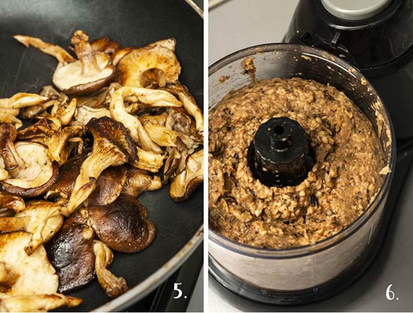 A step by step process showing how to make mushroom pâté.
