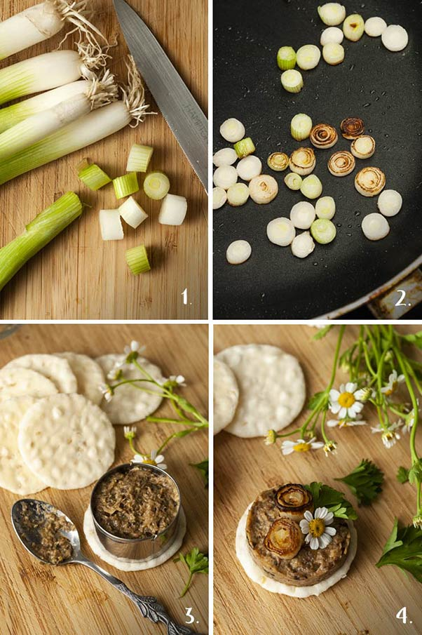 A collage of 4 numbered images showing how to slice, cook scallions and assemble pate canapés