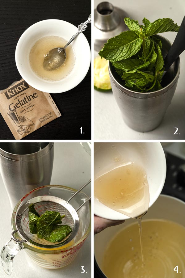 A step by step process showing how to make mojito jello.