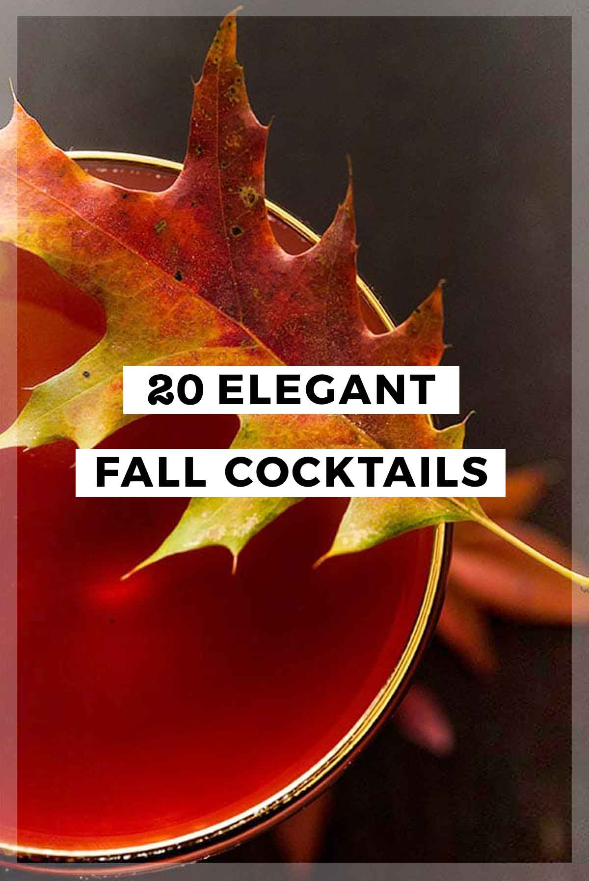 "A collage of 4 cocktails and a title that says ""20 Elegant Fall Cocktails."""