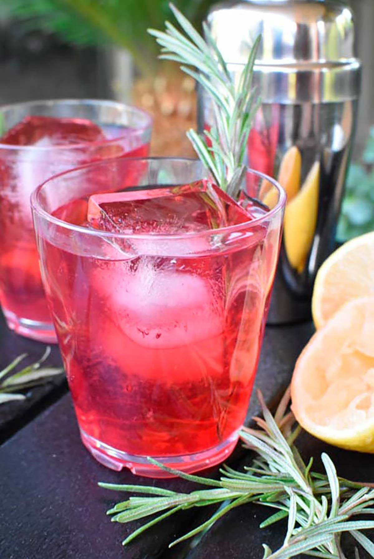 A cranberry cocktail garnished with rosemary.