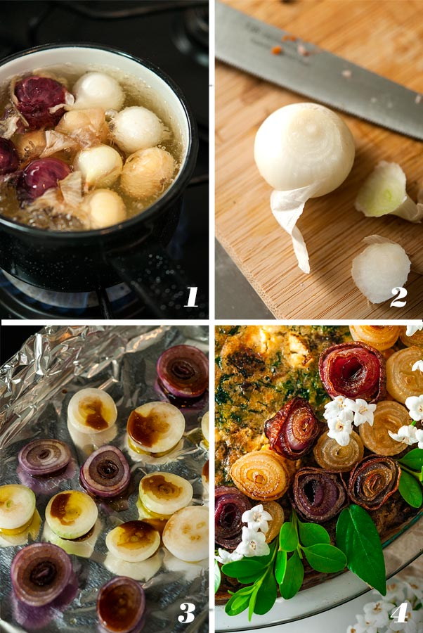 A step by step process showing how to make pearl onion roses.