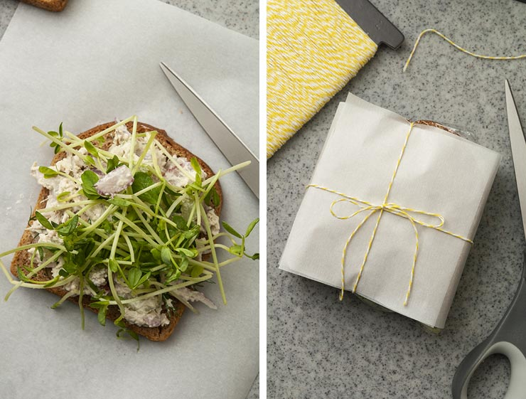 A side-by-side image showing a sandwich with sprouts on paper, and a sandwich wrapped in paper, tied with string.