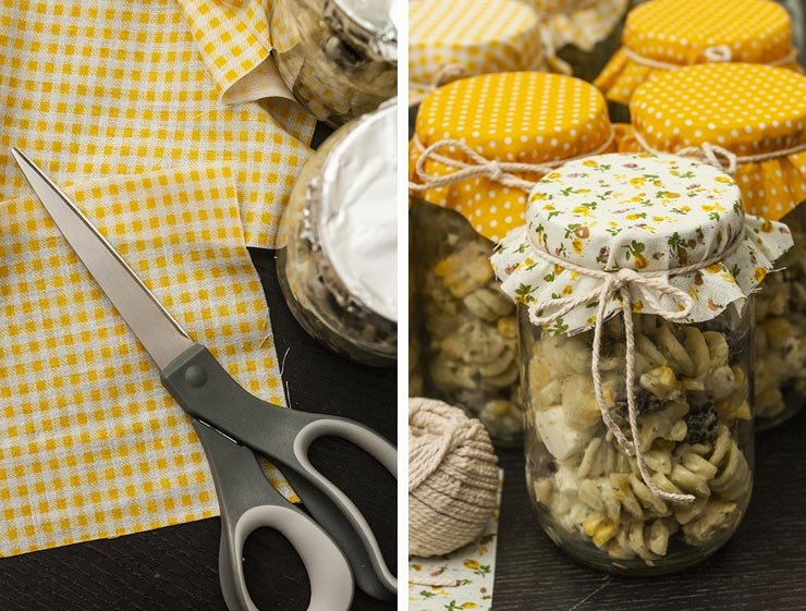 A side-by-side image showing cut fabric squares, and pasta salads in jars with fabric tops.