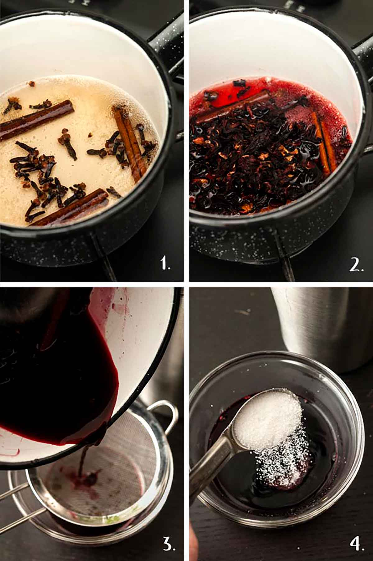 A collage of 4 numbered images showing how to make spiced hibiscus syrup.