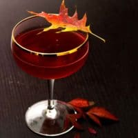 A red cocktail garnished with a colorful, autumn leaf on a dark wood table.