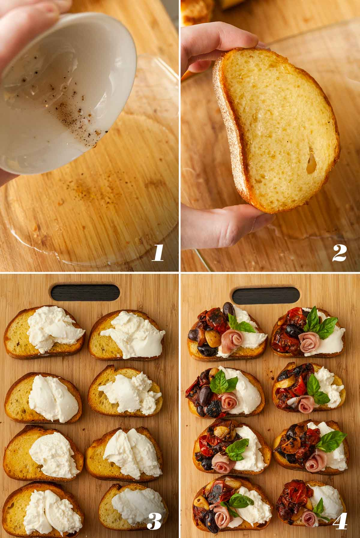 A collage of 4 numbered images showing how to assemble bruschetta.