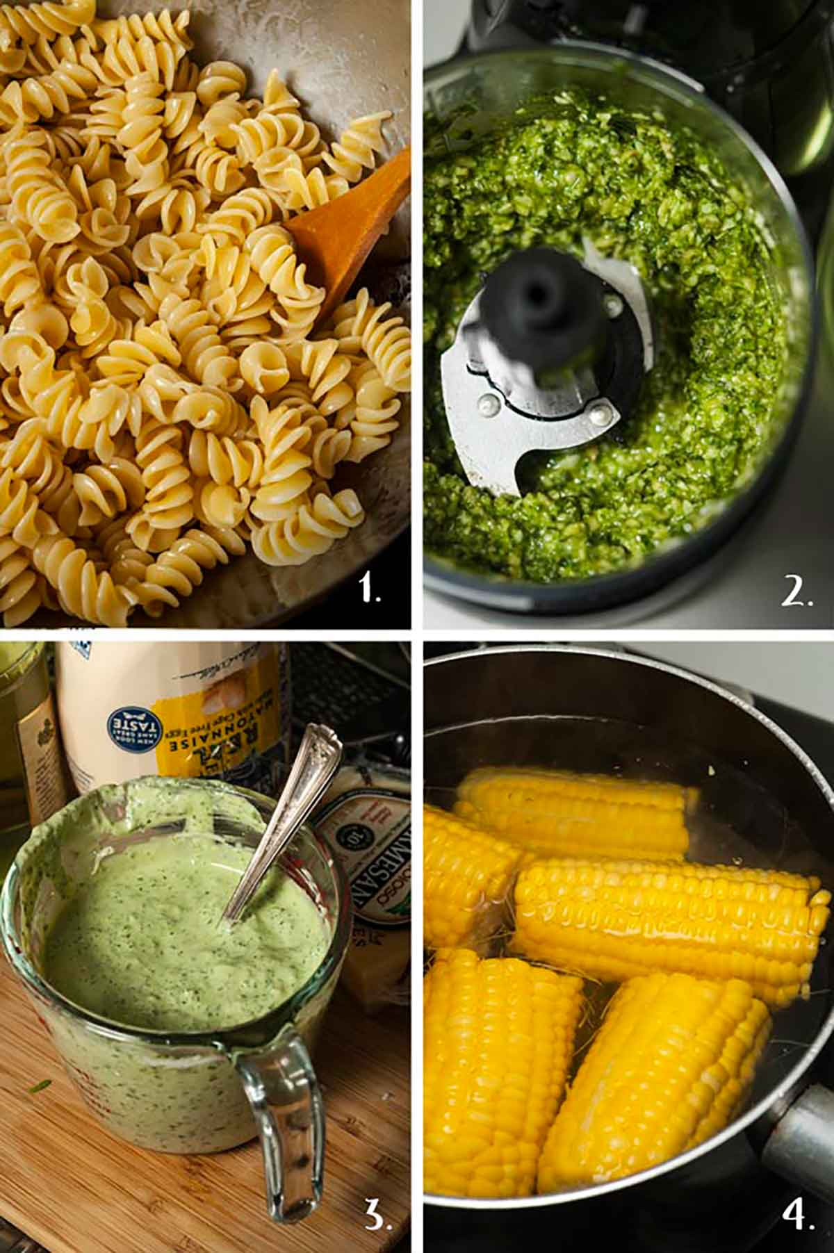 A collage of 4 numbered images showing how to boil pasta, make pesto and boil corn.