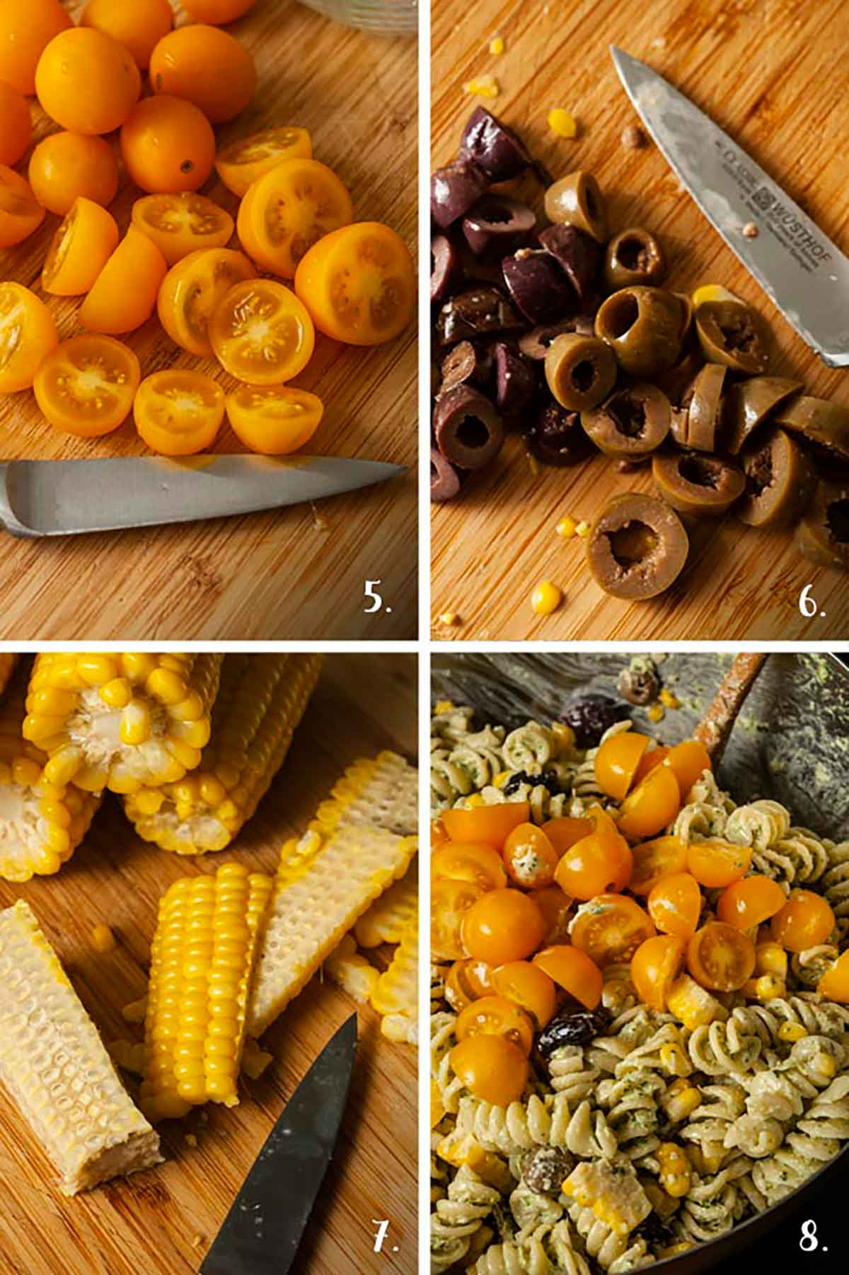 A collage of 4 numbered images showing how to slice vegetables for pasta salad.