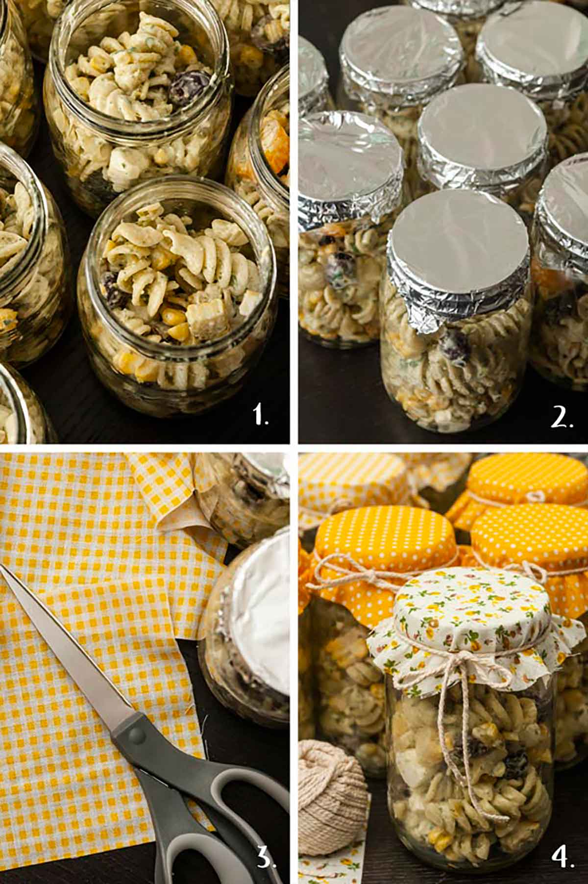 A collage of 4 images showing how to create fabric tops for bell jars full of pasta salad.