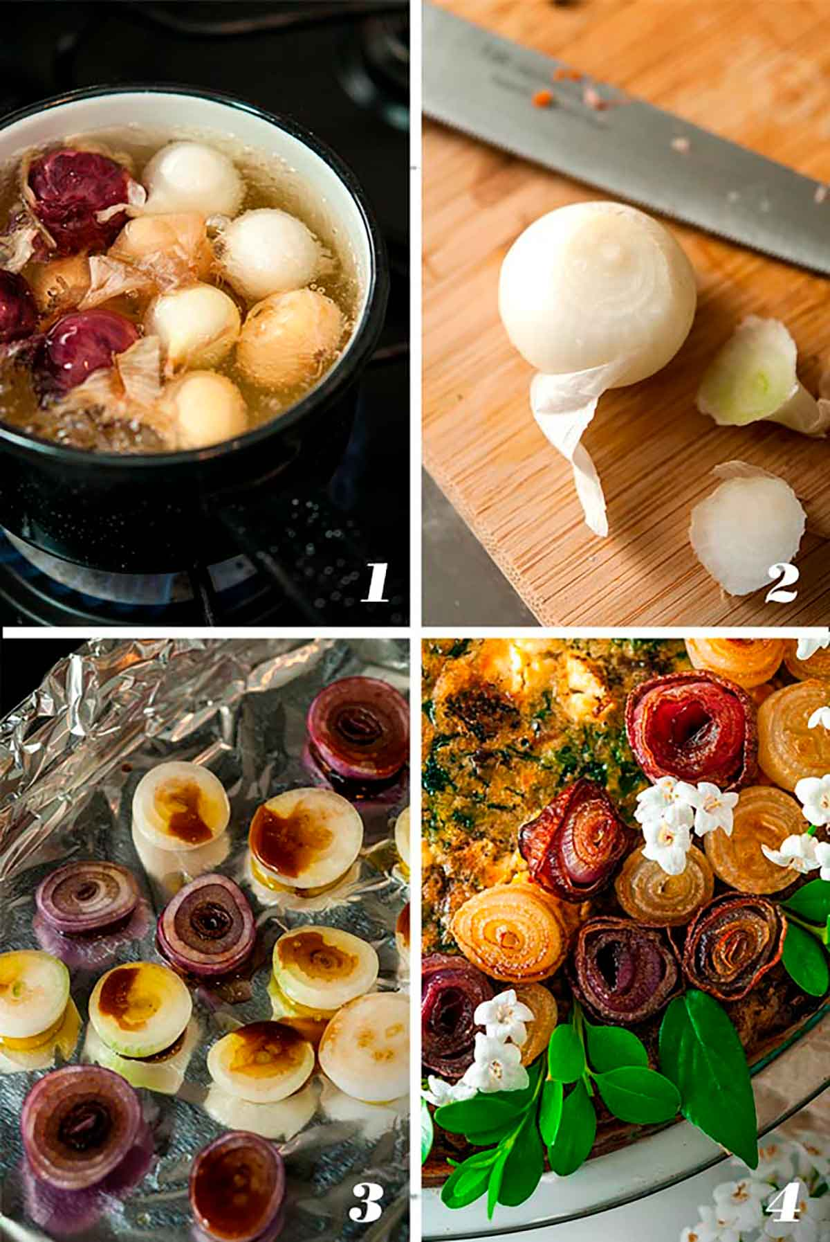 A collage of 4 numbered images showing how to make pearl onion roses.