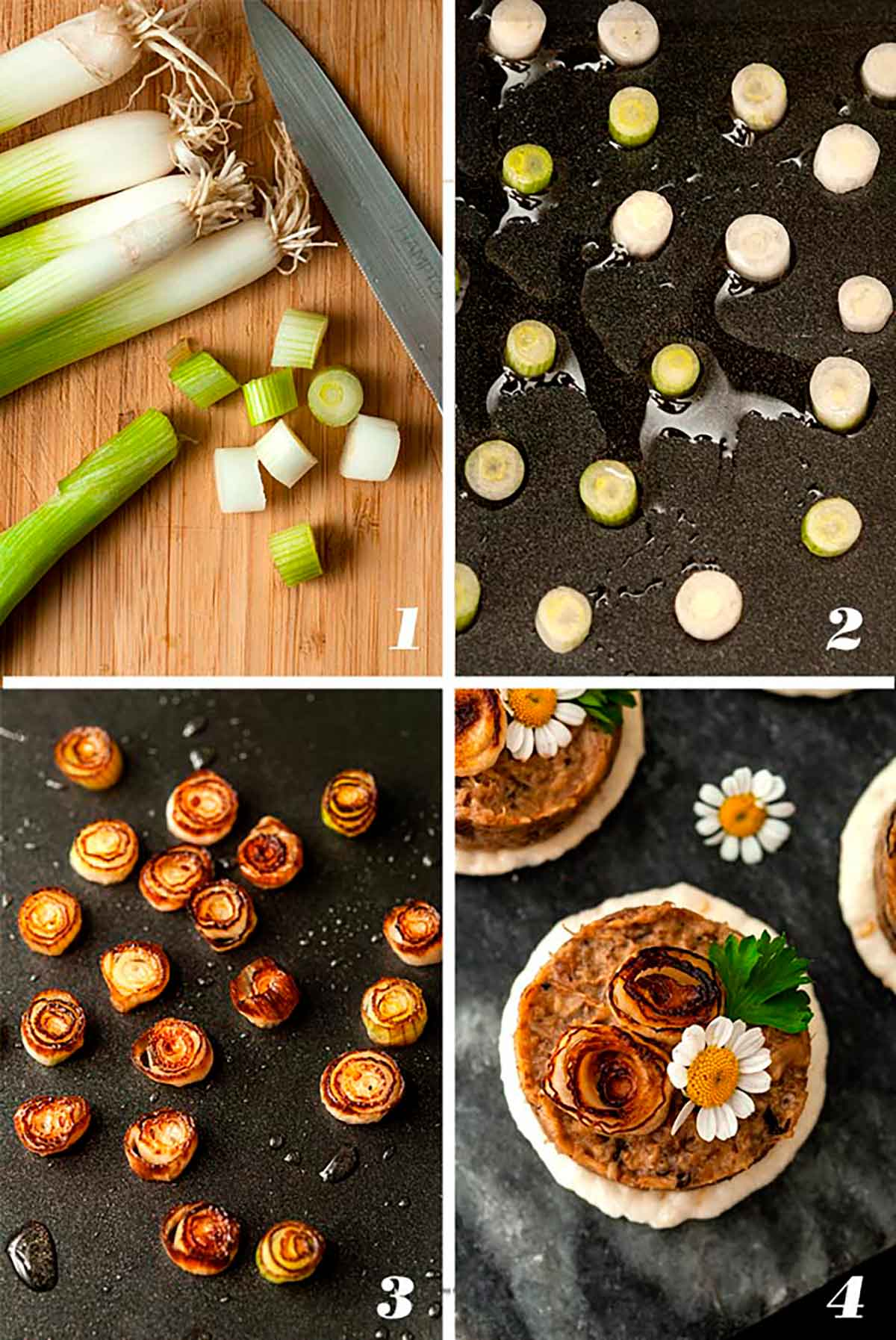 A collage of 4 numbered images showing how to make scallion roses.