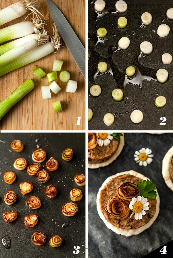A step by step process showing how to make scallion roses.
